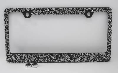 Black/Silver Crushed Crystal License Plate Frame