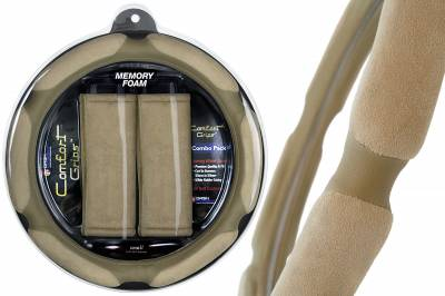 Dash Designs - Tan Multi Grip Steering Wheel Cover / 2 Tan Seat Belt Cushions Combo Pack