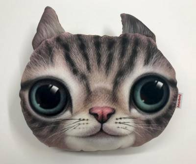 "Headeez™ Headrest Pillows - Headeez™ Headrest Pillow Gray Cat ""Misty"""