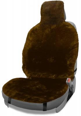 Dashcessories - Seat Topper™ Sheepskin Covers - Seat Topper™ Sheepskin Topper Brown With Headrest Cover