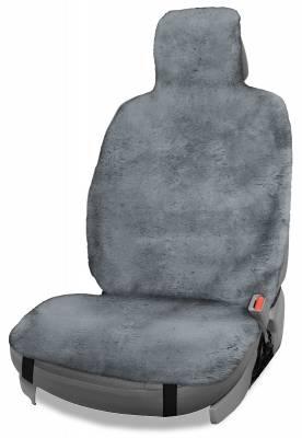Dashcessories - Seat Topper™ Sheepskin Covers - Seat Topper™ Sheepskin Topper Gray With Headrest Cover