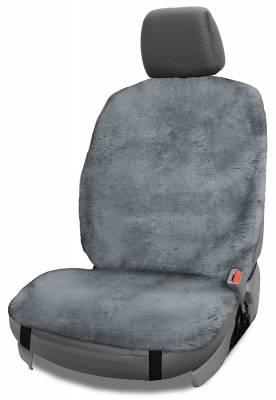 Dashcessories - Seat Topper™ Sheepskin Covers - Seat Topper™ Sheepskin Topper Gray Without Headrest Cover