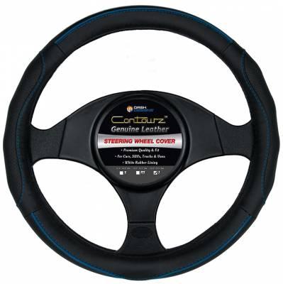 Steering Wheel Covers - Dash Designs - Contourz Pro Grip Leather Blue / Black