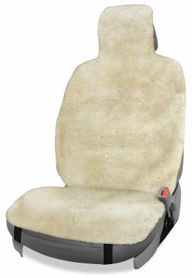 Seat Topper™ Sheepskin Topper Beige With Headrest Cover