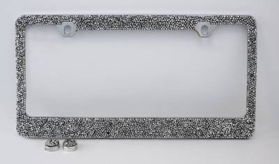 Dashcessories - License Plate Frames - Clear/Silver Crushed Crystal License Plate Frame