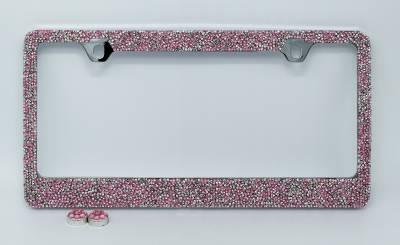 Dashcessories - License Plate Frames - Pink/Silver Crushed Crystal License Plate Frame