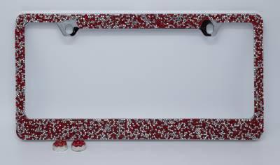 Dashcessories - License Plate Frames - Red/Silver Crushed Crystal License Plate Frame