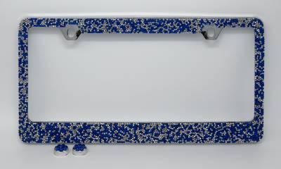 Dashcessories - License Plate Frames - Blue/Silver Crushed Crystal License Plate Frame